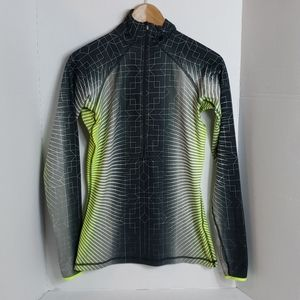 Nike Pro Women's Black White Green 1/4 Zip Top